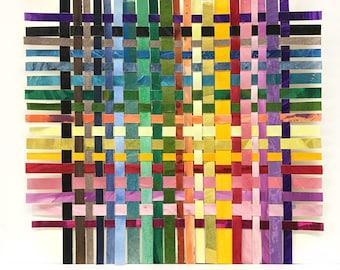 Colorful Paper Weaving- 9x9- Original Mixed Media- Woven Paper- Color Spectrum- Rainbow