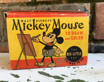 1930's Walt Disney Mickey Mouse To Draw and Color / The Big Little Set / In original Box