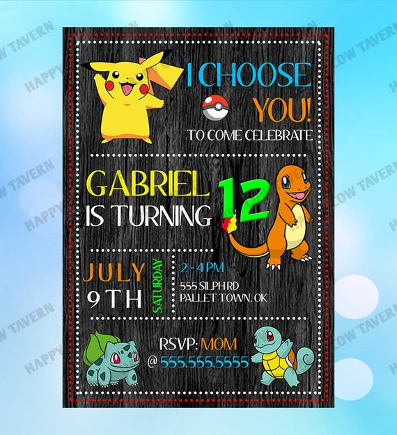 Pokemon Inspired Birthday Invitation