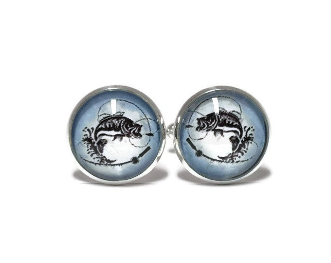 Fishing , rod and fish Glass domed cufflinks,