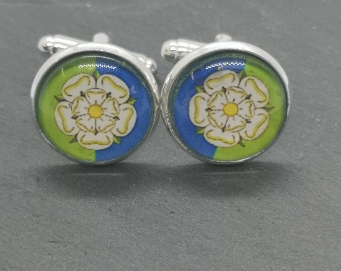 East Riding of Yorkshire, English County Flag, Glass Domed Cufflinks,