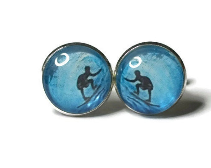 Vintage Surfing the Tube Poster  Glass Domed Cufflinks