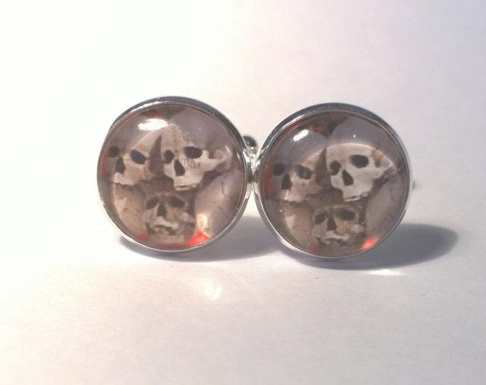 Gothic Skull Pile Glass domed Cufflinks