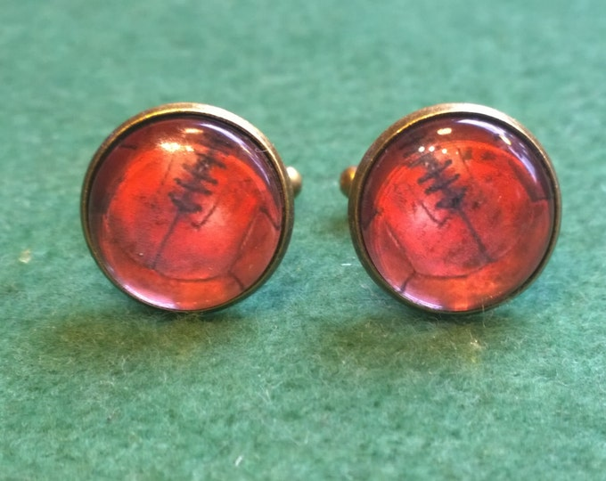 Vintage style English Laced Football Print Glass Domed Cufflinks, a Great gift idea for any football lover