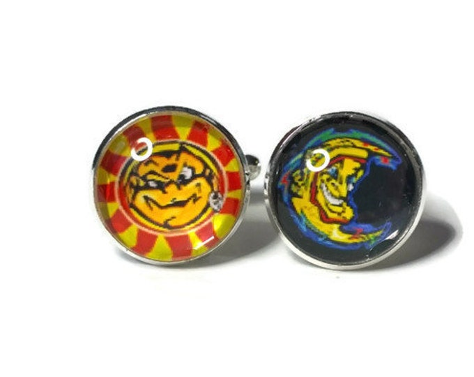 Valentino Rossi's Famous Sun and Moon Helmet Design encased in Glass domed Cufflinks