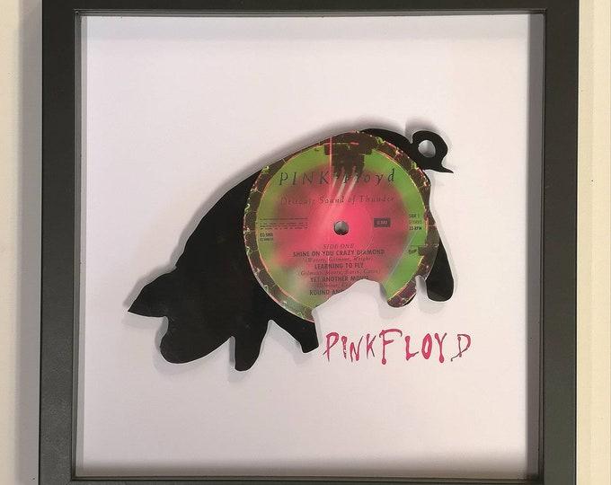 Pink Floyd Album delicate Sound of Thunder, Pig, ,Hand cut vinyl record wall art.