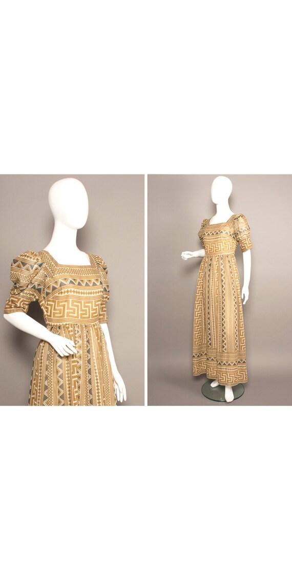 JEAN VARON 70s Boho Aztec Queen Peasant Maxi Dress