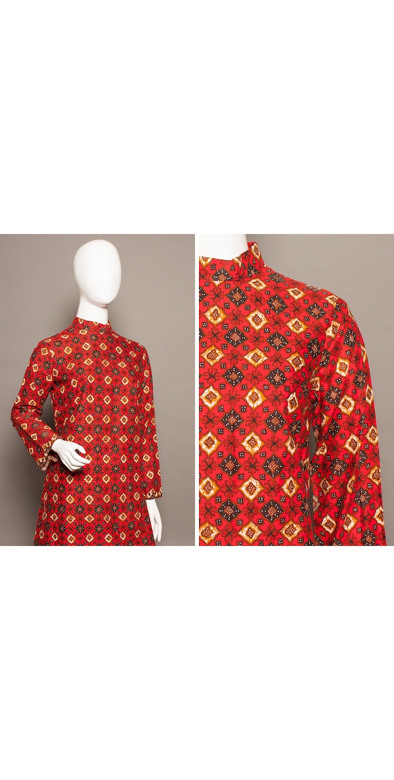 BEATLES Style 60s Ethic Print PSYCH Mini Dress UK