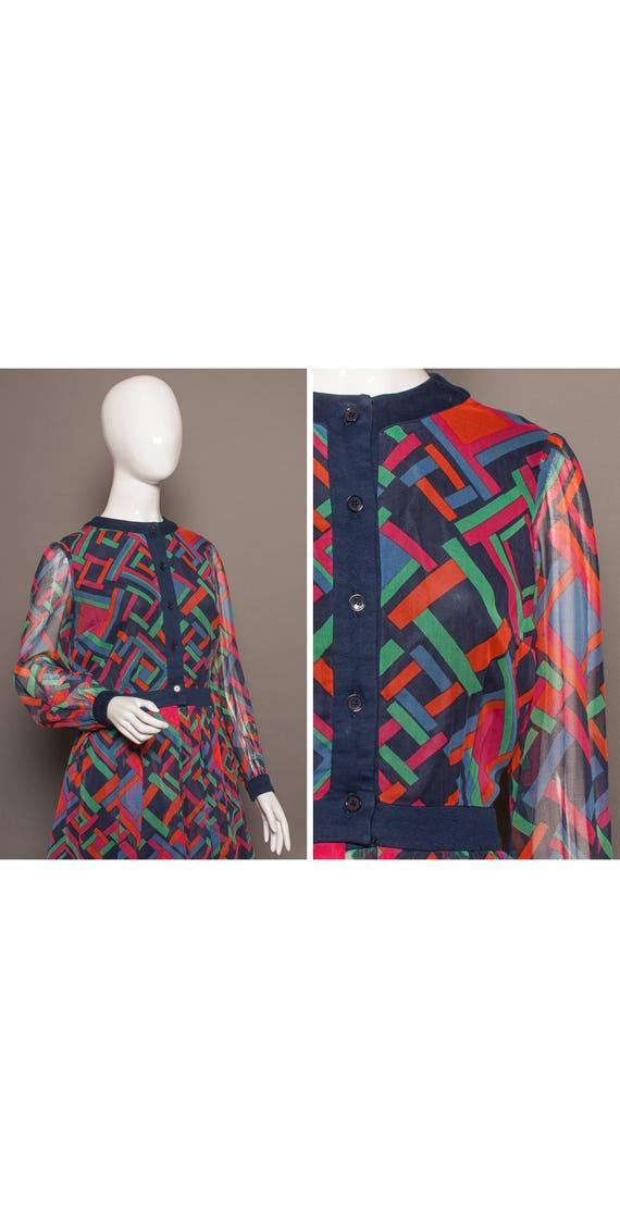 Mod 70s GEOMETRIC Psych DVF Like Midi Dress UK 14