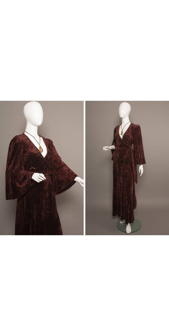 BIBA 70s Crushed VELVET Gothic Maxi Wrap Dress UK