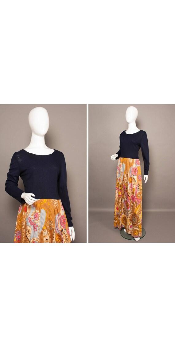 Boho 70s PSYCH Print Skirt Maxi Dress UK 12-14