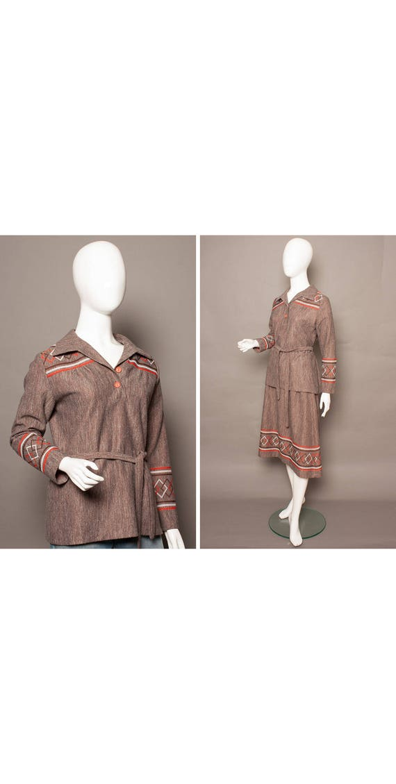 ARTY 70s Autumn BOHO 30s Style Smock-top Skirt Sui