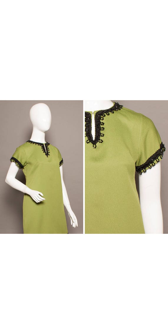 PSYCH 60s Jet Fringed KEYHOLE Sexy Mini Dress UK 1