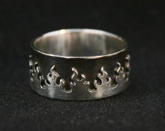 Sterling Silver Wide Band Flame Ring