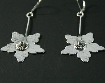 Sterling Silver Flower Earrings With CZ