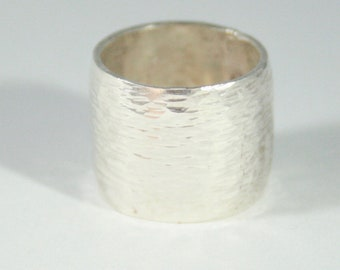 Sterling Silver Wide Band Boho Ring