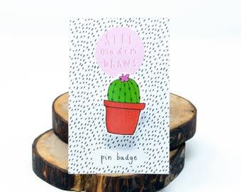 Cactus/succulent brooch/pin badge