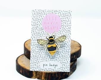 Illustrated bee brooch/pin