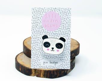 Illustrated panda bear brooch/pin badge