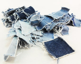 100 Denim Quilt Blocks Old square pieces sewing Upcycled Blue Jean Squares Recycled Fabric Blocks Ragged pieces denim Jeans creativity