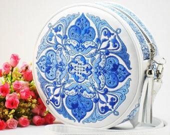 Leather White Embroidered Bag Round Embroidered Crossbody Bag Big Leather Purse White Blue Bag Art Bag Crossbody Purse Bright Hippie Bag