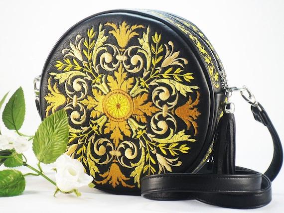 Round Embroidered Shoulder Bag Large Teal Purse Embroidered