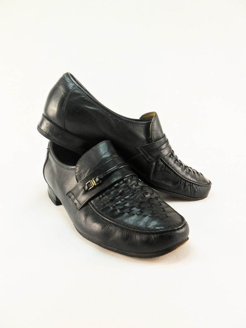 0b218d8b252 Vintage Mens Leather Loafers Black Leather Mens Moccasins