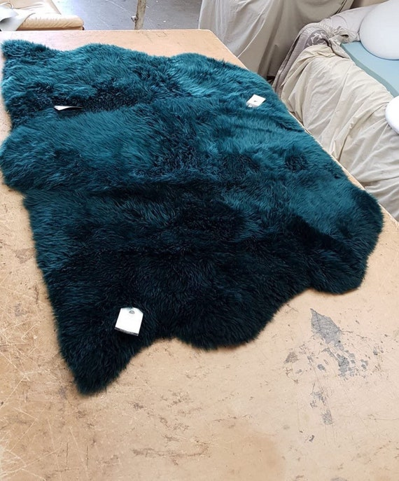 Genuine Sheepskin Rug Gorgeous Teal Colour Triple Side By Etsy