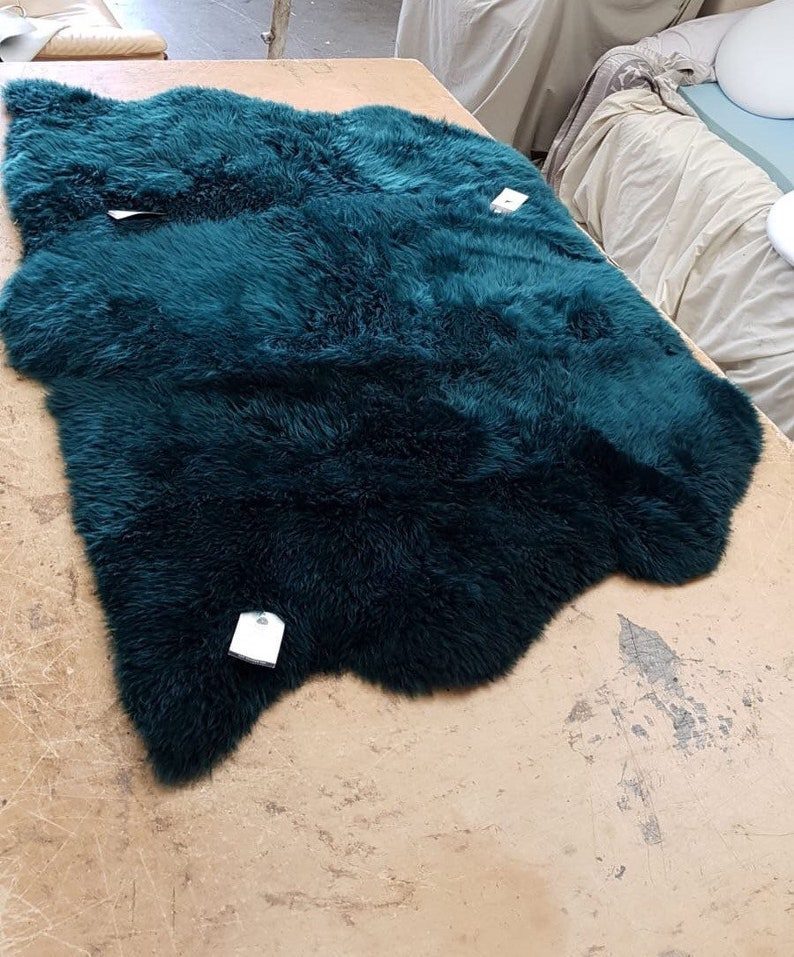 bed throw Triple side by side teal rug  blue green sheepskin gorgeous teal colour Genuine sheepskin rug fur Chair cover mat