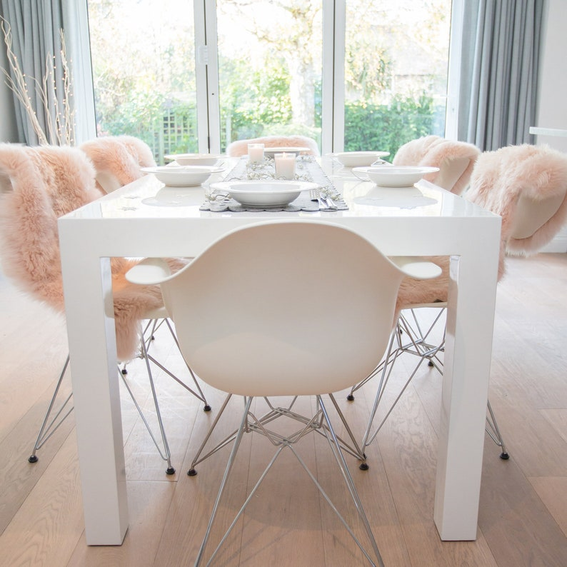 Pale Pink Sheepskin Rugs For Chair Covers Dining Bedroom