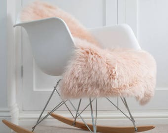 Pink sheepskin, blush pink throw, pale pink, Australian super soft palest pink sheepskin. Hygge, chair cover, bed cover, fur , girls room