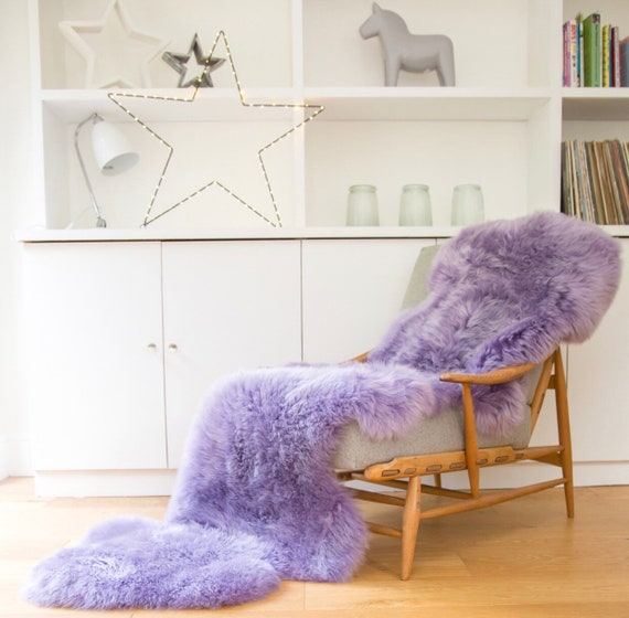 Sheepskin Rug Bed Throw Lilac Sheepskin Mauve Fur Fur
