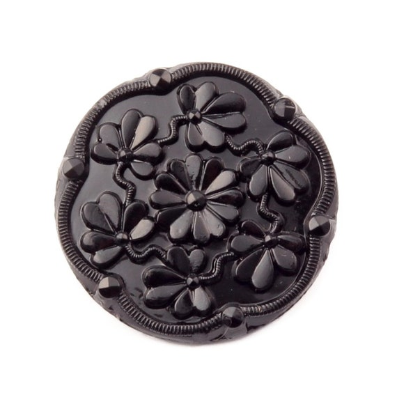 6 GORGEOUS JET BLACK VINTAGE STYLE COAT BUTTONS WITH FLOWER AND LEAF DESIGN 23mm