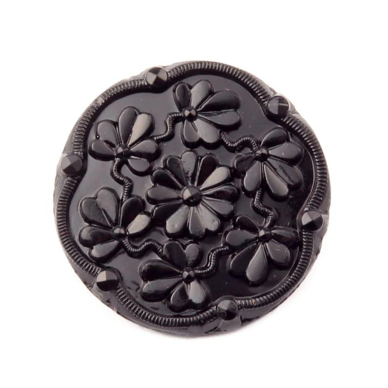 Vintage Czech jet black floral 3 leaf clover glass button Deco 28mm