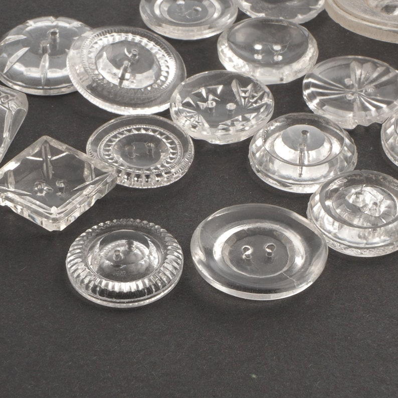 large vintage Czech geometric crystal clear sewing glass buttons Lot 16