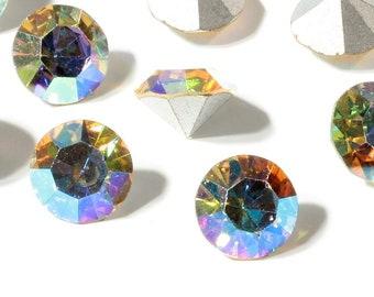 Lot (12) ss46 vintage Austrian foil AB vitrail crystal M C rhinestones Swarovski