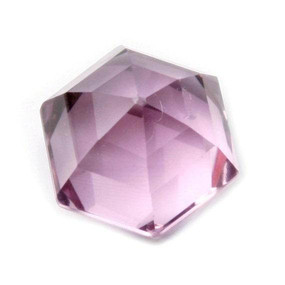 Rare grand tchèque antique 17mm à la améthyste main hexagone art de rose améthyste la pâle à facettes en verre strass 744bf7