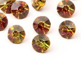 Lot (26) 9mm rare Czech antique foiled honey topaz bicolor Swarovski glass rhinestones