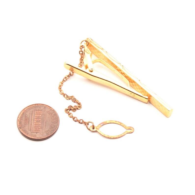 Vintage 24KGF gold and chrome bi metal tie bar clasp clip