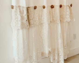 Shabby Cottage Chic Shower Curtain White Lace Ruffle Girls Bohemian Bathroom Burlap Roses Handmade