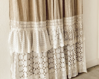 Shabby Cottage Chic Shower Curtain White Crochet Ruffle Girls Bohemian Bathroom Chenille