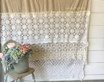 Shabby Cottage Chic Shower Curtain Chenille Lace Ruffle Farmhouse Bathroom