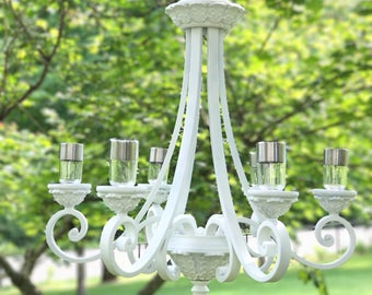 Solar chandelier etsy outdoor chandelier wedding chandelier solar powered garden chandelier solar lights solar light chandelier vintage chandelier mozeypictures Gallery