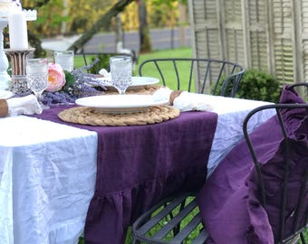 Ruffle Linen Table Runner, French Country Wedding, Table Linens, Made To  Order, Natural Flax Linen, Shabby Cottage Chic Style