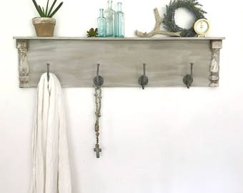Chippy Farmhouse Wall Shelf, Shabby Chic Shelf With Hooks, Rustic Wood Coat  Hook