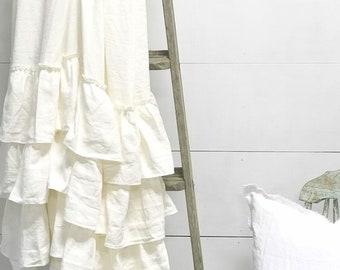 Paris Grey And White Ruffle Shower Curtain Shabby Chic Bathroom Linen 2 Tone Read Description