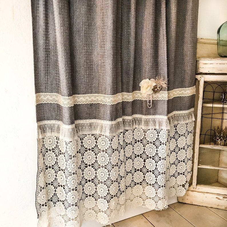 Cottage Chic Shower Curtain Crochet Shower Curtain Burlap Etsy