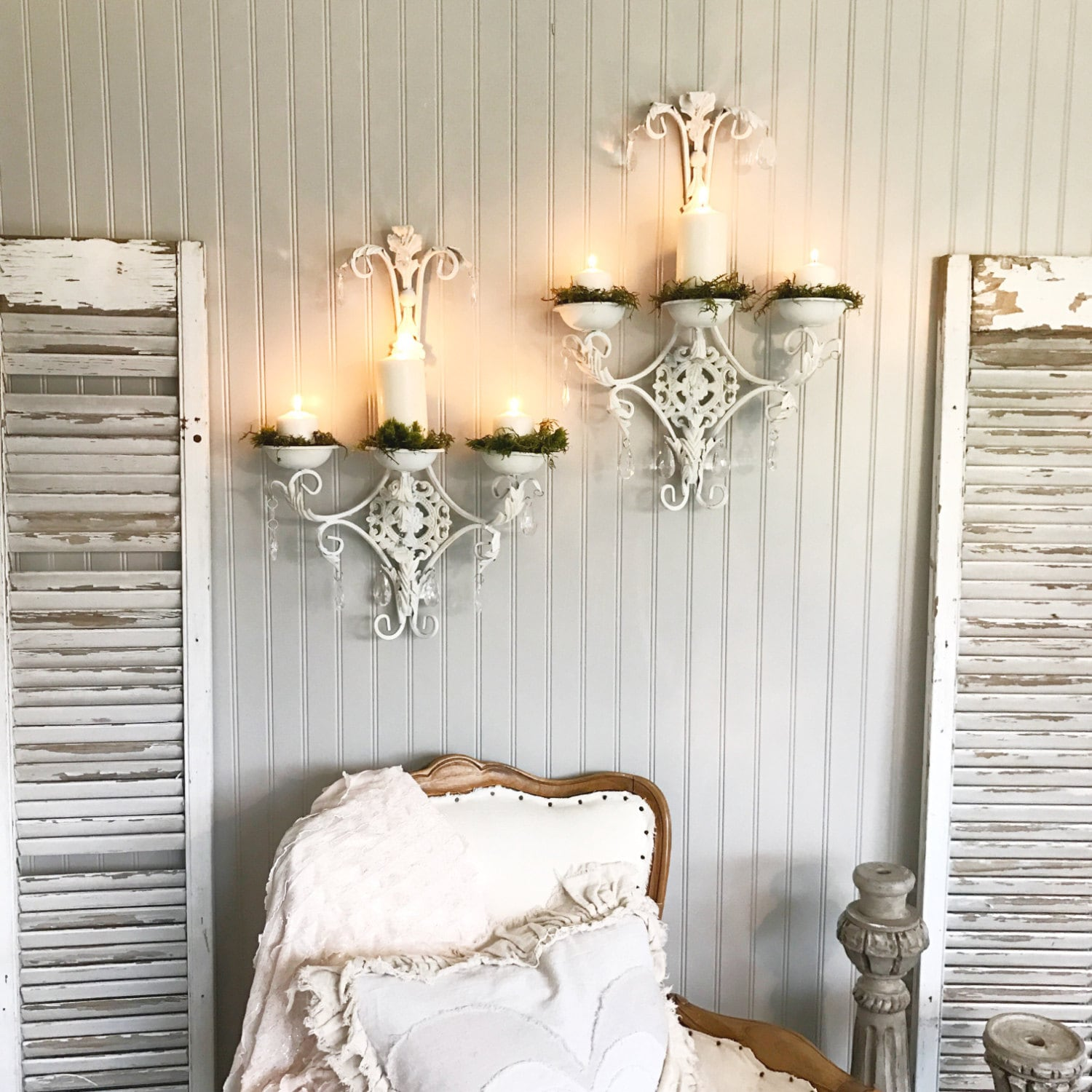 Wall Candle Holder Crystal Sconces Shabby Chic Set Of Two ...