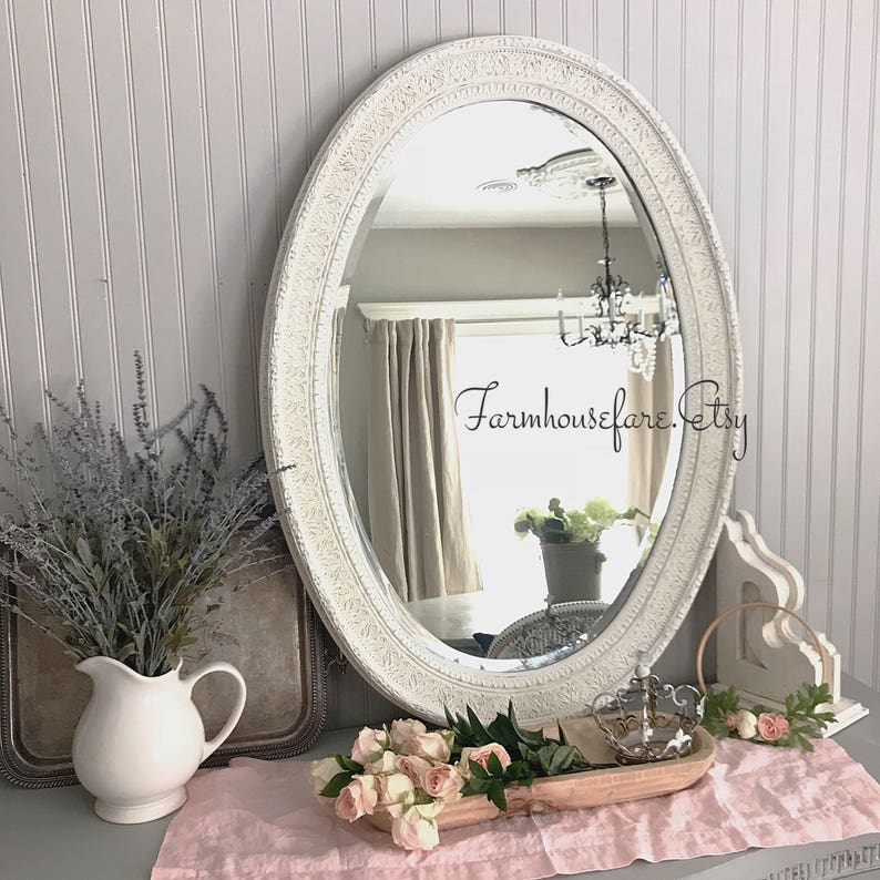 Phenomenal Bathroom Mirror Shabby Chic White Distressed Vanity Mirror Extra Large Farmhouse Decor Free Shipping Interior Design Ideas Gentotryabchikinfo