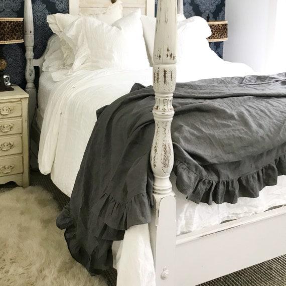 Ruffled Linen Throw Blanket Luxury French Linen Bedding | Etsy